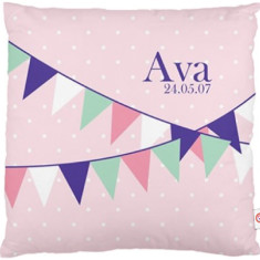 Girls' personalised bunting cushion cover (various designs)