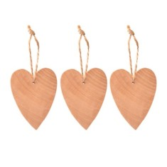 Natural heart hanging decoration (set of 3)