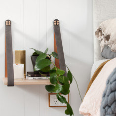 Grey Suede With Tan Leather Strap Shelf
