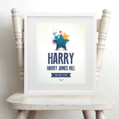 Personalised 'you are a star' name art print