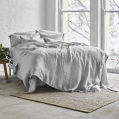 Pure linen quilt cover set in dove grey