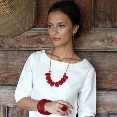 Peony pendant resin necklace