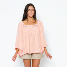 Crochet bell sleeve top in peach