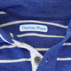 Personalised Mini Iron on Clothing Name Labels - 45 Pack - Various Colours