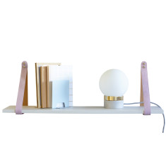 Pink Suede Leather Strap Shelf