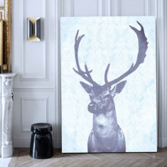 Stag blue ready to hang canvas art