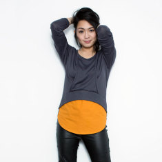 Curvy Love Knit Breastfeeding Top in Charcoal/Pumpkin