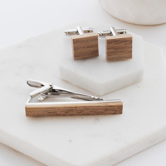 Wooden Tie Bar and Cufflink set