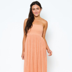 Elastic floor-length dress in clay