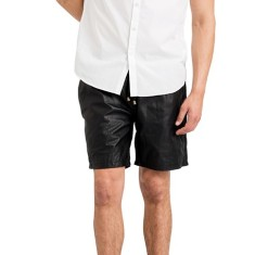 Black basketball SH1 leather shorts