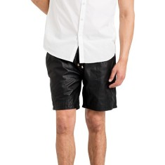 Black basketball SH1 leather shorts