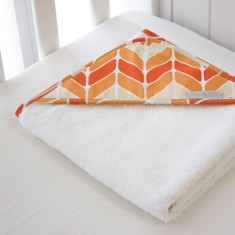 Orange chevron kids hooded towel