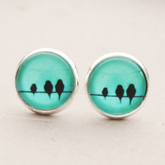 Birds on a wire glass stud post earrings in silver