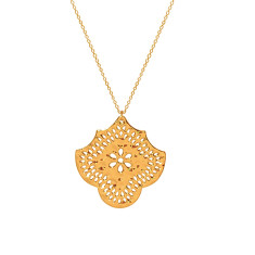 Long Necklace with Flower Pendant in 18 KT Yellow Gold Plate