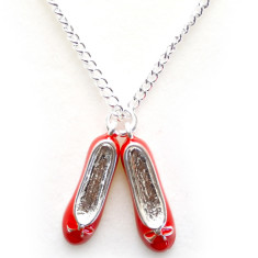 Chain necklace with red ballerina shoes