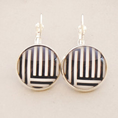 Black and white lines glass dangle drop earrings in silver