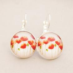 Poppies glass dangle drop earrings in silver