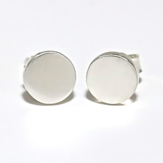Silver Disc Stud Earrings