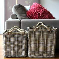 Square rattan baskets with rope handles (set of 2)