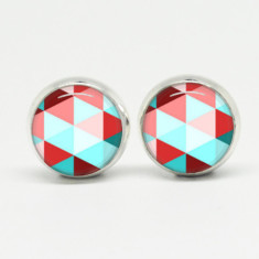 Geometric glass stud post earrings in silver