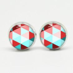 Geometric glass stud post earrings in silver