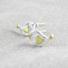 Songbird sterling silver ear stud earrings