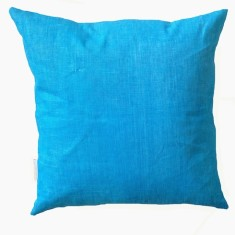 Electric blue linen cushion
