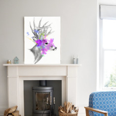 Blooming stag ready to hang canvas art
