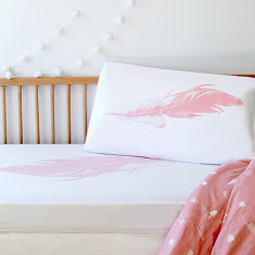 Pink feather cot sheet