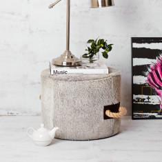 Escaño cowhide ottoman in grey