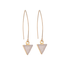 Mini Triangle Light Grey Drusy Dropper Earrings