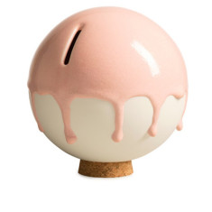 Danish ceramic orb money pot in pink