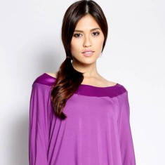 Sophie purple long sleeve bamboo cotton top with satin boat neck feature