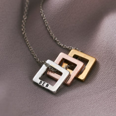 Personalised Tricolore Square Necklace