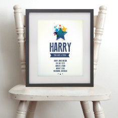 You are a star personalised name & birth art print