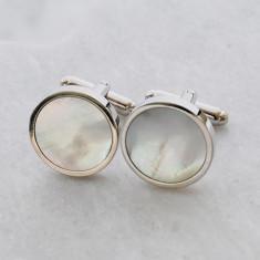 Men's shell cufflinks in silver