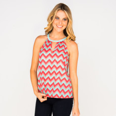 Leah top Chevron Coral
