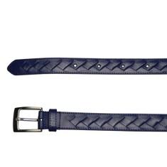 Cross weave leather belt in navy