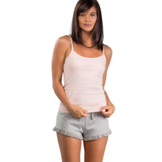 Organic pima cotton frill short in pumice