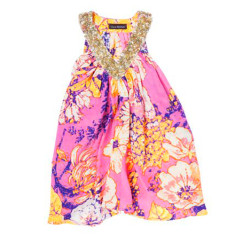 Girls' peony pop silk dress