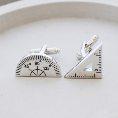 Protractor and set square maths stainless steel cufflinks