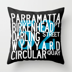 Sydney bus route M52 cushion cover