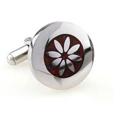 Wood and steel flower cufflinks