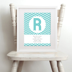 Personalised chevron baby name & birth details art print