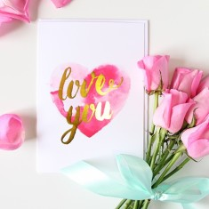 Love you gold foil card