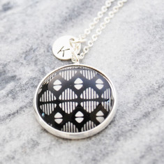 Personalised Black and white abstract pattern necklace in silver