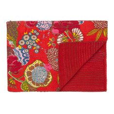 Tropical blanket with kantha stitching (various colours)
