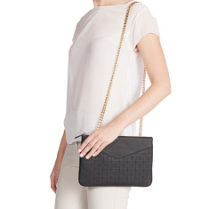 The Grace crossbody and clutch in black rubik leather