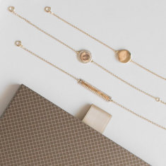 Set of three crystal inlay bracelets 18k gold vermeil