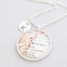 Personalised Sydney city map necklace in silver